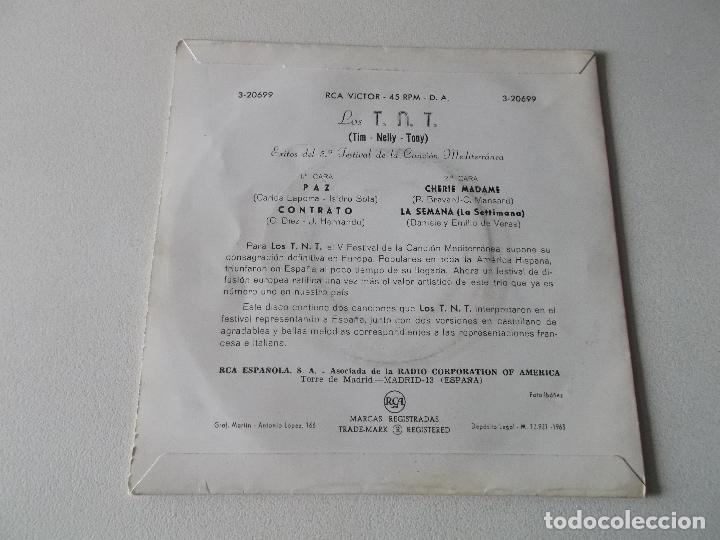 Discos de vinilo: Los TNT - 5.º Festival de la canción Mediterránea - Paz / Contrato / Cherie Madame / La Semana - EP. - Foto 2 - 195394611
