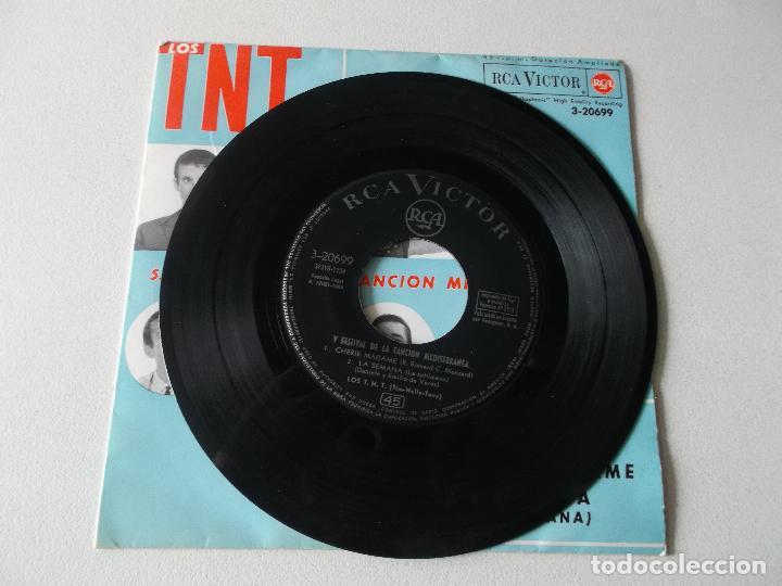 Discos de vinilo: Los TNT - 5.º Festival de la canción Mediterránea - Paz / Contrato / Cherie Madame / La Semana - EP. - Foto 3 - 195394611