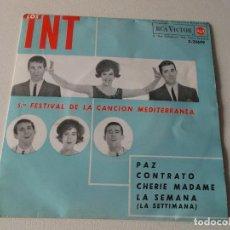 Discos de vinilo: LOS TNT - 5.º FESTIVAL DE LA CANCIÓN MEDITERRÁNEA - PAZ / CONTRATO / CHERIE MADAME / LA SEMANA - EP.. Lote 195394611