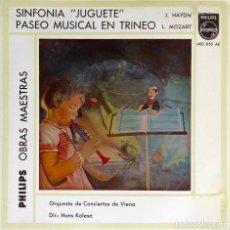 Discos de vinilo: SINFONÍA JUGUETE. HAYDIN. PASEO MUSICAL EN TRINEO. MOZART. HANS KALESA. EP ESPAÑA. Lote 195398822
