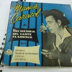 Discos de vinilo: MANOLO CARACOL EP HISPAVOX 1959 UNA HISTORIA DEL CANTE FLAMENCO VOL 4 MIRABRAS/ SOLEARES +2. Lote 195399703