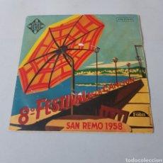 Discos de vinilo: 8° FESTIVAL DE LA CANCION - SAN REMO 1958. Lote 195440143