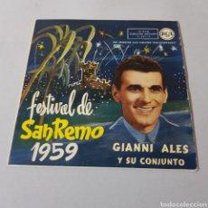 Discos de vinilo: GIANNI ALES Y SU CONJUNTO - FESTIVAL DE SAN REMO 1959. Lote 195440482