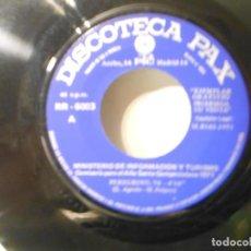 Discos de vinilo: MINISTERIO DE INFORMACION Y TURISMO - PEREGRINO. Lote 195441445