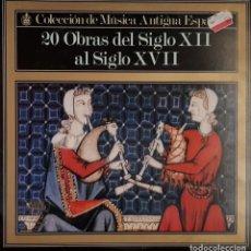 Discos de vinilo: 20 OBRAS DEL SIGLO XII AL SIGLO XVII - HISPAVOX - 1981. Lote 195457030