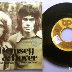 Discos de vinilo: DEMSEY AND DOVER / NO, NO, ANYONE BUT ME / SINGLE 7 INCH. Lote 195477386