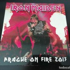 Discos de vinilo: IRON MAIDEN: PRAGUE ON FIRE - LP PIRATA (2013) - VINILO VERDE, ED. LIMITADA A 100 COPIAS (Nº 69/100). Lote 195478895
