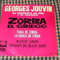 Discos de vinilo: GEORGES JOUVIN, ZORBA EL GRIEGO, LA VOZ DE SU AMO 7EPL 14.184, 1965, 4 TEMAS.. Lote 195497712