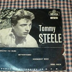 Discos de vinilo: TOMMY STEELE ?– SINGING THE BLUES, BUTTERFINGERS, DOOMSDAY ROCK, REBEL ROCK, DECCA ?– EDGE 70677.. Lote 195500507
