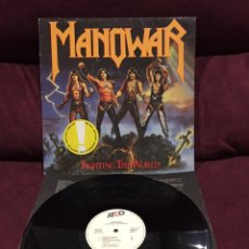 Discos de vinilo: MANOWAR - FIGHTING THE WORLD LP, 1987, ESPAÑA. Lote 195518652