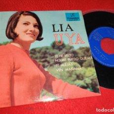 Disques de vinyle: LIA UYA T HE VISTO/NO ME PUEDO QUEJAR/TE ALEJAS/VEN MAÑANA EP 1965 COLUMBIA EXCELENTE ESTADO. Lote 195527540