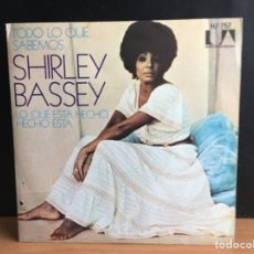 Discos de vinilo: SHIRLEY BASSEY - TODO LO QUE SABEMOS (FOR ALL WE KNOW) (SINGLE) (UNITED ARTISTS RECORDS) (D:NM). Lote 195533177