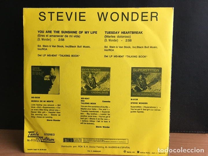 Discos de vinilo: Stevie Wonder - You Are The Sunshine Of My Life = Eres El Amanecer De Mi Vida (Single) (D:NM) - Foto 2 - 195533397