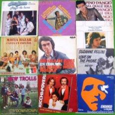 Discos de vinilo: LOTE 9 SINGLES (MATIA BAZAR, N.DI BARI, SANDRO GIACOBBE, NEW TROLLS, SERGIO ENDRIGO. Lote 195583800