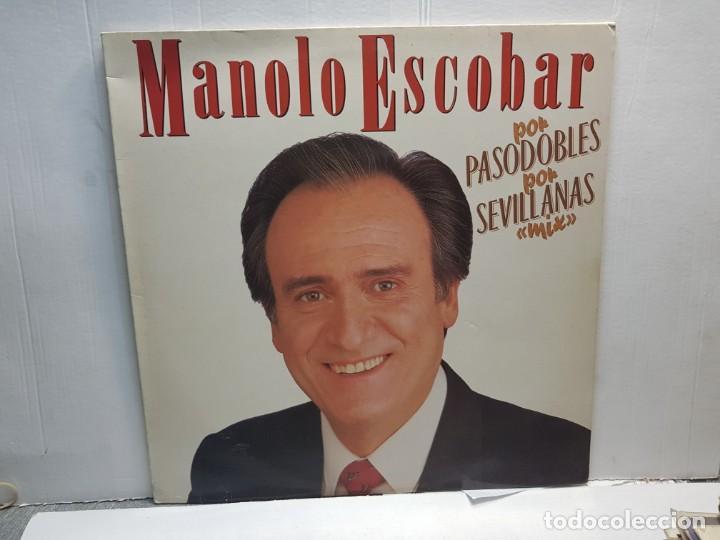 LP-MANOLO ESCOBAR-POR PASODOBLES POR SEVILLANAS MIX EN FUNDA ORIGINAL 1989 (Música - Discos de Vinilo - EPs - Grupos Españoles de los 90 a la actualidad)