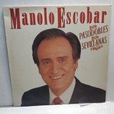 Discos de vinilo: LP-MANOLO ESCOBAR-POR PASODOBLES POR SEVILLANAS MIX EN FUNDA ORIGINAL 1989. Lote 195640352