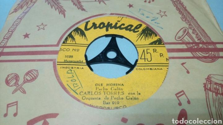 Discos de vinilo: Carlos torres con la orquesta de pacho galan. Ole Morena. Single vinilo edición de Colombia. - Foto 3 - 195661462