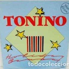 Discos de vinilo: TONINO - HOLIDAY BAMBA + CARAMBA LA BAMBA - MAXI-SINGLE HORUS SPAIN 1987. Lote 195694333
