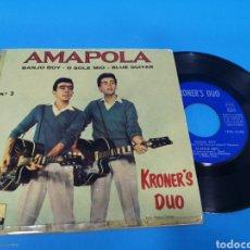 Discos de vinilo: DISCO SINGLE, KRONER, S DÚO, AMAPOLA, BANJO BOY, O SOLÉ MÍO, BLUE GUITAR. Lote 195702610