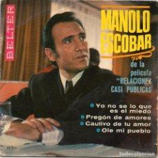 Discos de vinilo: MANOLO ESCOBAR - YO NO SE LO QUE ES EL MIEDO + 3 EP.S . Lote 195737197