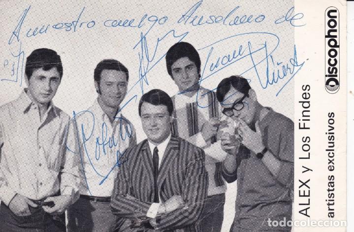 PAPEL TAMAÑO POSTAL ALEX Y LOS FINDES BARCELONA GRUPO MUSICAL AÑOS 60 CON SUS FIRMAS (Música - Discos de Vinilo - Maxi Singles - Grupos Españoles 50 y 60)