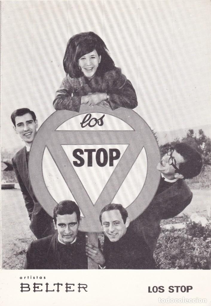 PAPEL TAMAÑO POSTAL LOS STOP BARCELONA AÑOS 60 (Música - Discos de Vinilo - Maxi Singles - Grupos Españoles 50 y 60)