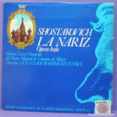 Dischi in vinile: SHOSTAKOVICH - LA NARIZ / OPERA BUFA - DIR: ROZHDESTVENSKY - 2XLP EDICIÓN ESPAÑOLA 1977 - GATEFOLD. Lote 195825917