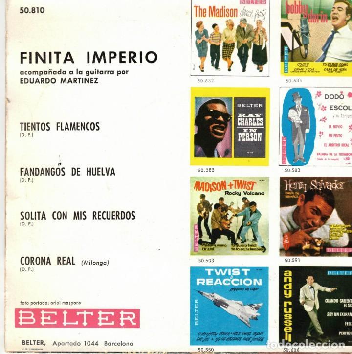 Discos de vinilo: FINITA IMPERIO - TIENTOS FLAMENCOS + 3 - EP SPAIN 1962 - Foto 2 - 195880605