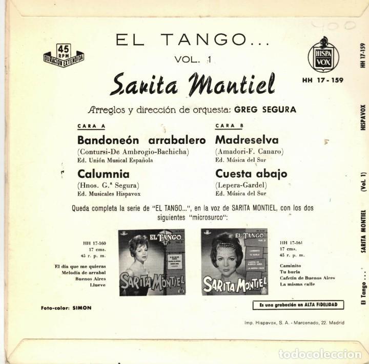 Discos de vinilo: SARITA MONTIEL - EL TANGO - BANDONEON ARRABALERO +3 EP SPAIN 1961 - Foto 2 - 195881798