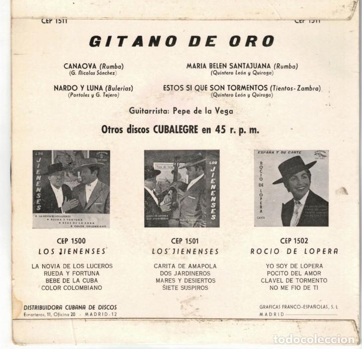 Discos de vinilo: GITANO DE ORO - CANAOYA + 3 - EP SPAIN 1963 - Foto 2 - 195882201