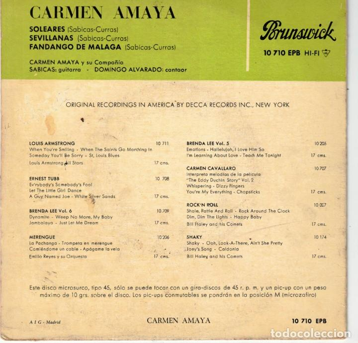 Discos de vinilo: CARMEN AMAYA - SEVILLANAS - EP SPAIN 1961 - Foto 2 - 195885437