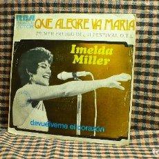 Discos de vinilo: IMELDA MILLER – QUE ALEGRE VA MARÍA / DEVUÉLVEME EL CORAZÓN, PROMOCIONAL, RCA, VICTOR,1973.. Lote 195887113