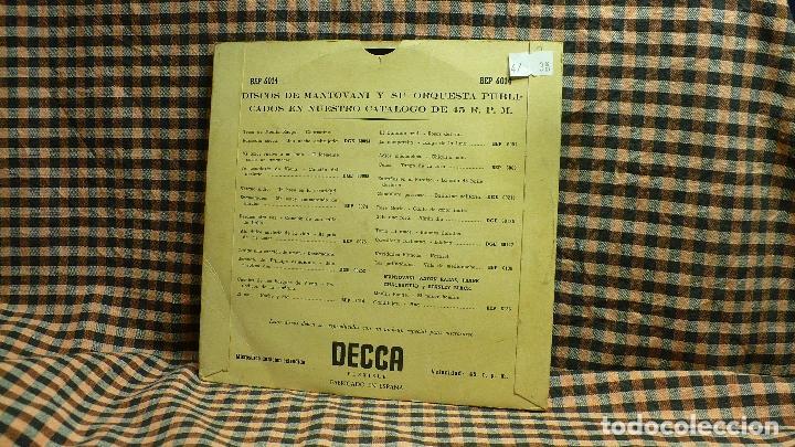 Discos de vinilo: mantovani - cuentosdel bosque de viena, periodicos de la mañana, el mar, noche y dia, decca - Foto 2 - 195898670