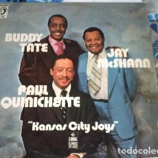 Discos de vinilo: BUDDY TATE, PAUL QUINICHETTE, JAY MCSHANN ‎– KANSAS CITY JOYS. JAZZ. SWING. DISCOPHON. 1979. Lote 195910458
