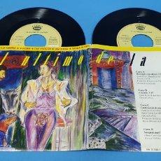 Discos de vinilo: DOS DISCOS SINGLES, EL ÚLTIMO DE LA FILA: DEL TEMPLO A LA TABERNA/A JAZMÍN/CAUTER./ NAVAJA DE PAPEL. Lote 195937308