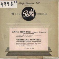 Disques de vinyle: ANNE MONACO / GERMAINE MONTERO (EP ESPAÑOL, DISCOS PATHE SIN FECHA). Lote 195947352