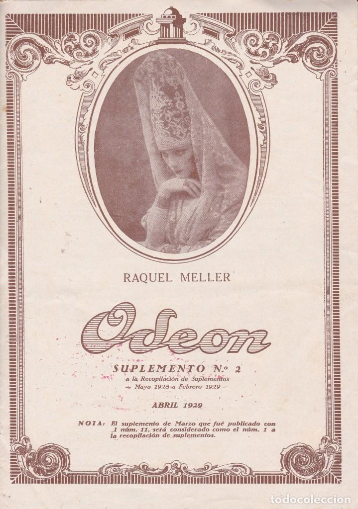 RAQUEL MELLER REVISTA ODEON Nº2 1929 DIST. ESTEBA BRIONES VILA REUS (Música - Discos de Vinilo - Maxi Singles - Clásica, Ópera, Zarzuela y Marchas)