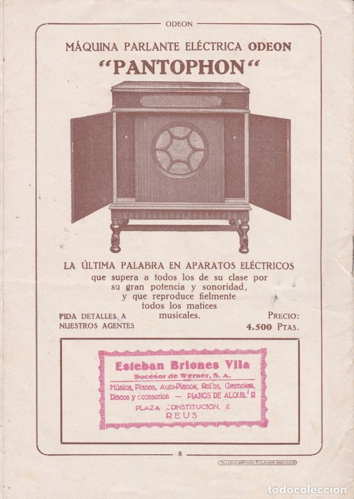 Discos de vinilo: Raquel Meller revista Odeon nº2 1929 dist. Esteba Briones Vila Reus - Foto 2 - 195968530