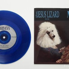 Discos de vinilo: THE JESUS LIZARD: PUSS / NIRVANA: OH, THE GUILT, VINILO AZUL, ORIGINAL 1993. Lote 196056468
