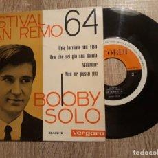 Discos de vinilo: BOBBY SOLO.FESTIVAL DE SAN REMO 64 .UNA LACRIMA DULCE VISO, ETC... Lote 196109661