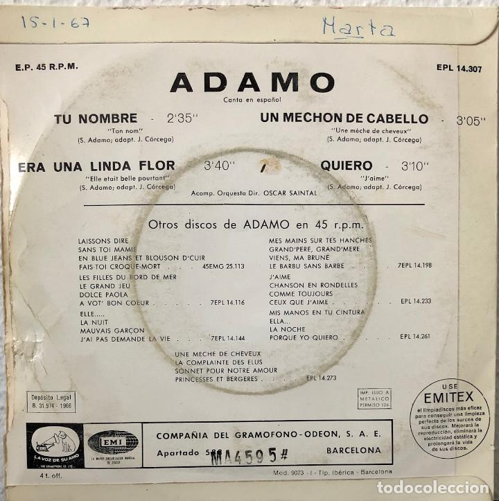 Discos de vinilo: ADAMO ep a 45 rpm - Foto 2 - 196172003