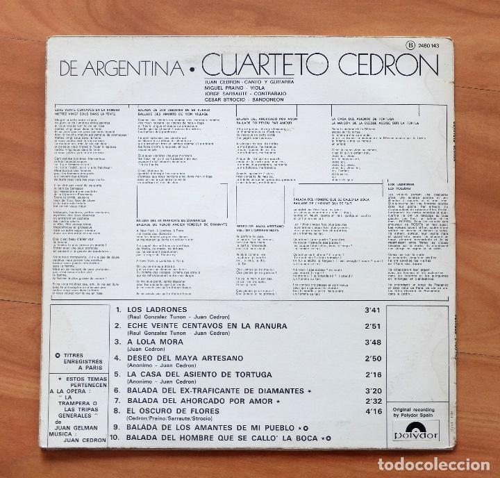 Discos de vinilo: CUARTETO CEDRÓN : DE ARGENTINA- DISCOS POLYDOR - Foto 2 - 196213150