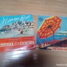 Discos de vinilo: FESTIVAL SAN REMO 1958 - FESTIVAL BENIDORN, MONNA BELL 1959 - LOTE 2 EPS !! !! ORG EDT SPAIN. Lote 196275878