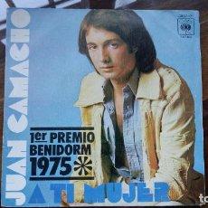 Disques de vinyle: JUAN CAMACHO (SINGLE 1975) A TI MUJER - 1º PREMIO XVII FESTIVAL DE BENIDORM. Lote 196280185
