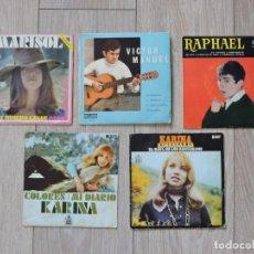 Discos de vinilo: 5 VINILOS SINGLES - 2 DE KARINA - RAPHAEL - VICTOR MANUEL - MARISOL. Lote 196361505