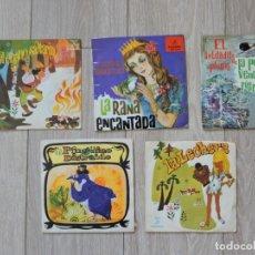 Discos de vinilo: 5 VINILOS SINGLES - CUENTOS INFANTILES. Lote 196361961