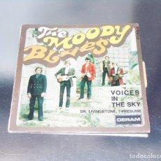 Discos de vinilo: THE MOODY BLUES ---VOICES IN THE SKY & DR. LIVINGSTONES, I PRESUME - EDICION AÑO 1968 VG++. Lote 196368731
