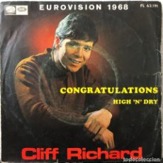 Discos de vinilo: CLIFF RICHARD SINGLE45 RPM CONGRATULATIONS EUROVISION 1968. Lote 196382782