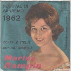 Discos de vinilo: MARISA RAMPIN SINGLE 45 GIRI DU FESTIVAL DI SANREMO 1962 DURIUM RARO . Lote 196523357