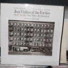 Discos de vinilo: LP ESPAÑOL FOLKWAYS JAZZ VIOLINS OF THE FORTIES STUFF SMITH PAUL NERO JOE KENNEDY VG++. Lote 196736093